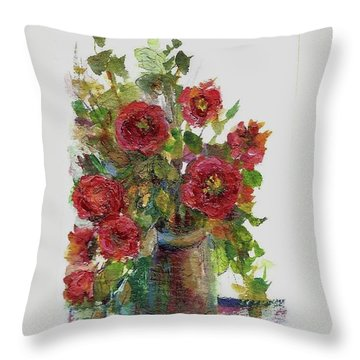 Bouquet Of Poppies Throw Pillow by Mary Wolf