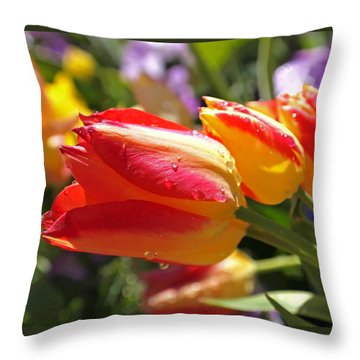 Bowing Tulips Throw Pillow by Rona Black