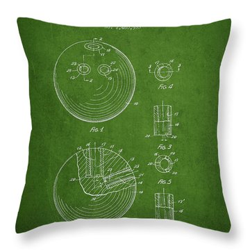 Bowling Ball Patent Drawing From 1949 Throw Pillow