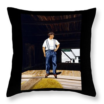 Throw Pillow featuring the painting Boy In The Barn by Ron Haist