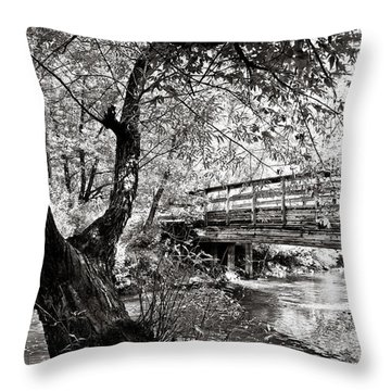 Bridge At Ellison Park Throw Pillow by Sara Frank