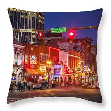 Broadway Street Nashville Throw Pillow by Brian Jannsen