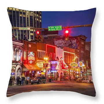 Broadway Street Nashville Throw Pillow