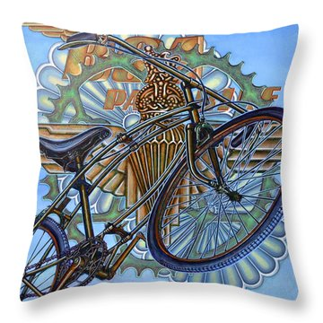 Throw Pillow featuring the painting Bsa Parabike by Mark Howard Jones