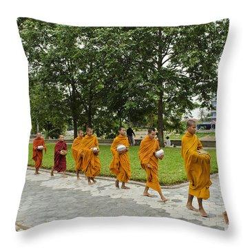 Buddhist Monks In Battambang Cambodia Throw Pillow