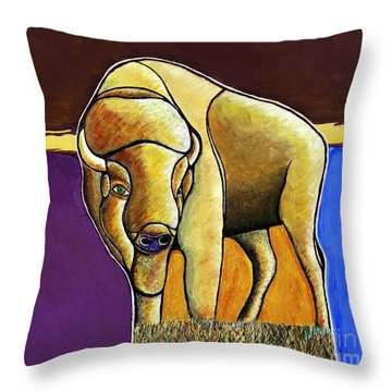 Throw Pillow featuring the painting Buffalo 1 by Joseph J Stevens