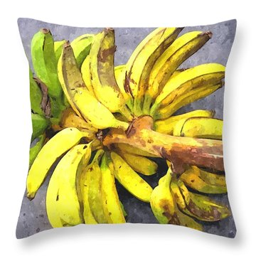 Bunch Of Banana Throw Pillow by Lanjee Chee