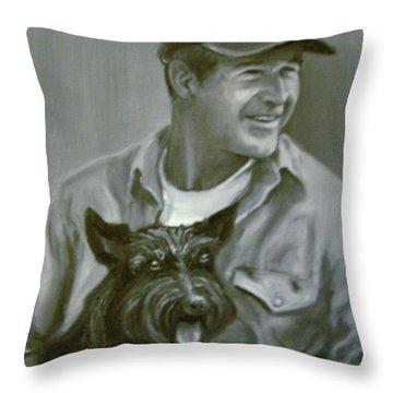 Bush And Barney Throw Pillow by Martha Suhocke