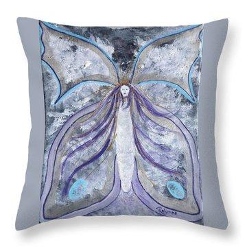 Butterfly Goddess Throw Pillow by Judy M Watts-Rohanna