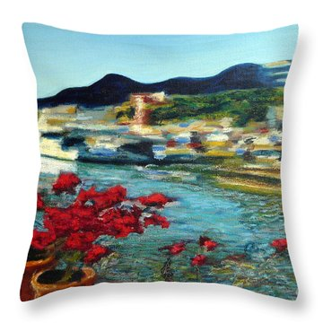 Cabo Marina With Flowers Throw Pillow