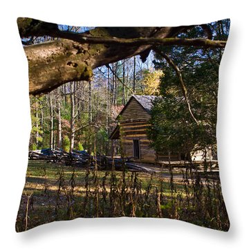 Cades Cove Cabin  Throw Pillow