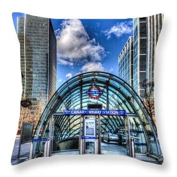 Canary Wharf Throw Pillow by David Pyatt