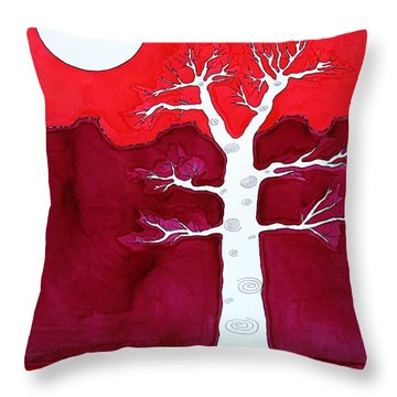 Canyon Tree Original Painting Throw Pillow by Sol Luckman