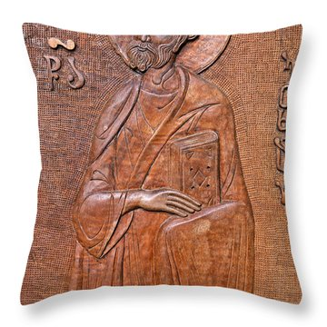 Carved Wooden Door Of The Tsminda Sameba Cathedral Throw Pillow by Robert Preston