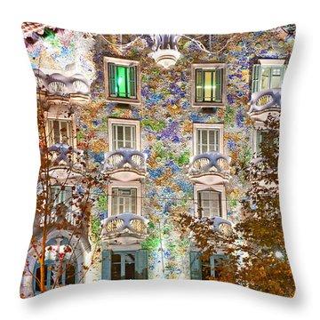 Casa Batllo - Barcelona Throw Pillow by Luciano Mortula