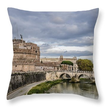Castle St Angelo In Rome Italy Throw Pillow