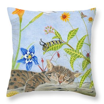 Cat And Mouse Throw Pillow by Gerald Strine