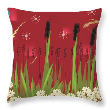 Throw Pillow featuring the digital art Cattails by Kim Prowse