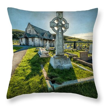 Celtic Cross Throw Pillow by Adrian Evans