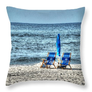 Throw Pillow featuring the digital art 2 Chairs And Umbrella by Michael Thomas