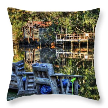 2 Chairs On The Magnolia River Throw Pillow