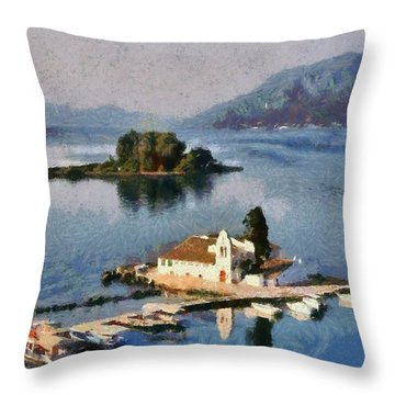 Panagia Vlachernon Monastery In Corfu Island Throw Pillow