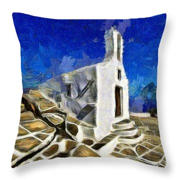 Chapel In Ios Island Throw Pillow