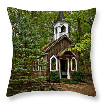Chapel In The Woods Throw Pillow