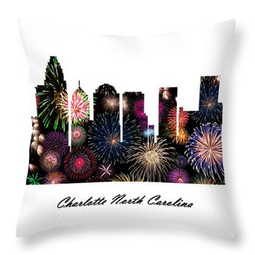 Charlotte North Carolina Fireworks Skyline Throw Pillow
