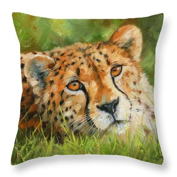 Cheetah Throw Pillow by David Stribbling