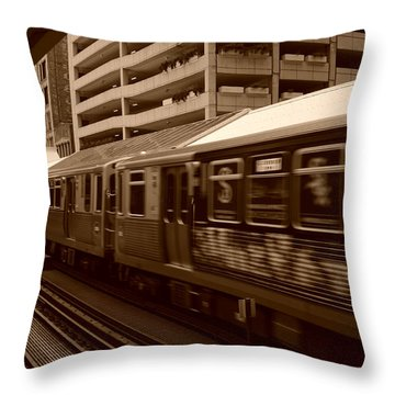 Throw Pillow featuring the photograph Chicago Cta by Miguel Winterpacht