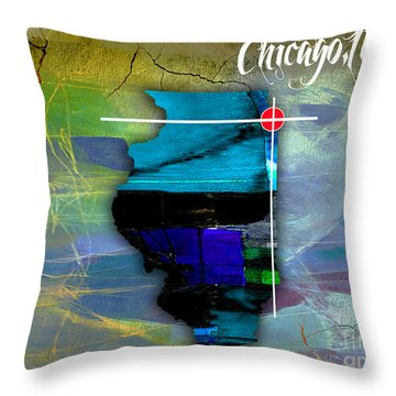 Chicago Illinois Map Watercolor Throw Pillow by Marvin Blaine