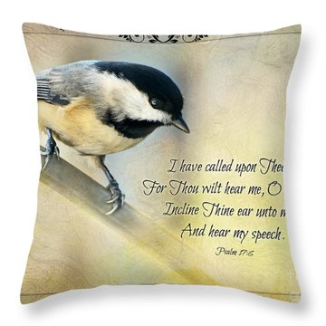 Chickadee With Verse Throw Pillow by Debbie Portwood