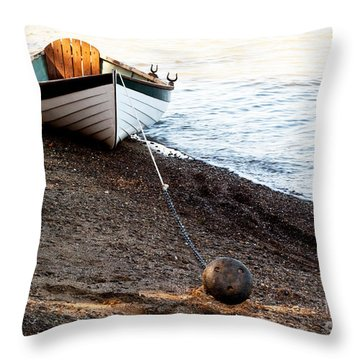 China Beach Rowboat Throw Pillow
