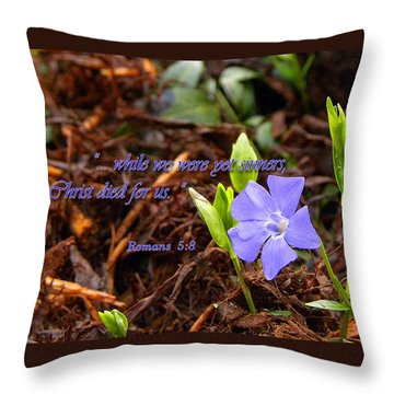 Throw Pillow featuring the photograph Christ Died For Us by Larry Bishop