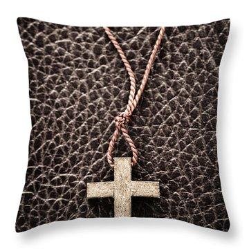 Christian Cross On Bible Throw Pillow by Elena Elisseeva