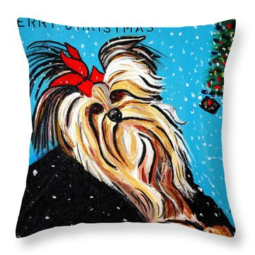 Throw Pillow featuring the painting Christmas Card by Nora Shepley