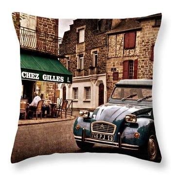 Citroen 2cv In French Village / Meyssac Throw Pillow