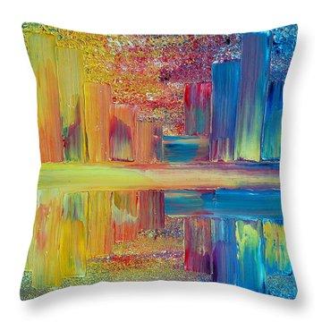 City Lights Throw Pillow by Teresa Wegrzyn