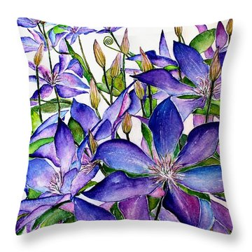Clematis Climbing Vine Throw Pillow
