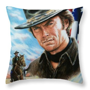 Clint Eastwood American Legend Throw Pillow