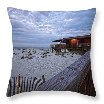 Throw Pillow featuring the painting Cloudy Morning At The Sea N Suds by Michael Thomas
