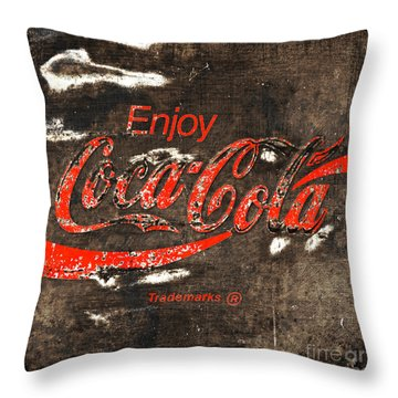 Coca Cola Sign Throw Pillow by John Stephens