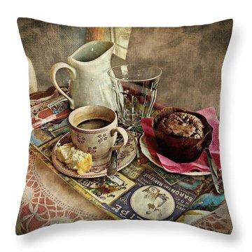 Coffee Time Throw Pillow by Barbara Orenya