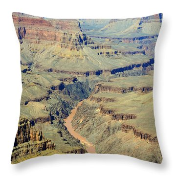 Colorado River Flowing Red Through Inner Gorge Grand Canyon National Park Throw Pillow by Shawn O'Brien
