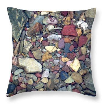 Colorful Lake Rocks Throw Pillow