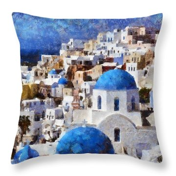 Colorful Oia In Santorini Island Throw Pillow