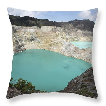 Colourful Crater Lakes Of Kelimutu Throw Pillow by Richard Roscoe