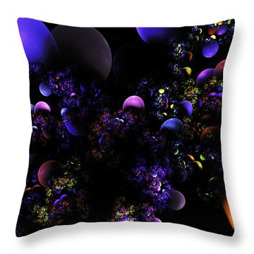 Computer Generated Spheres Abstract Fractal Flame Throw Pillow by Keith Webber Jr