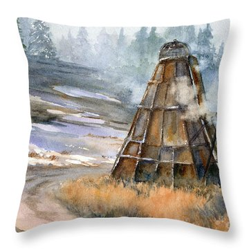 Throw Pillow featuring the painting Cookin' It by Lynne Wright